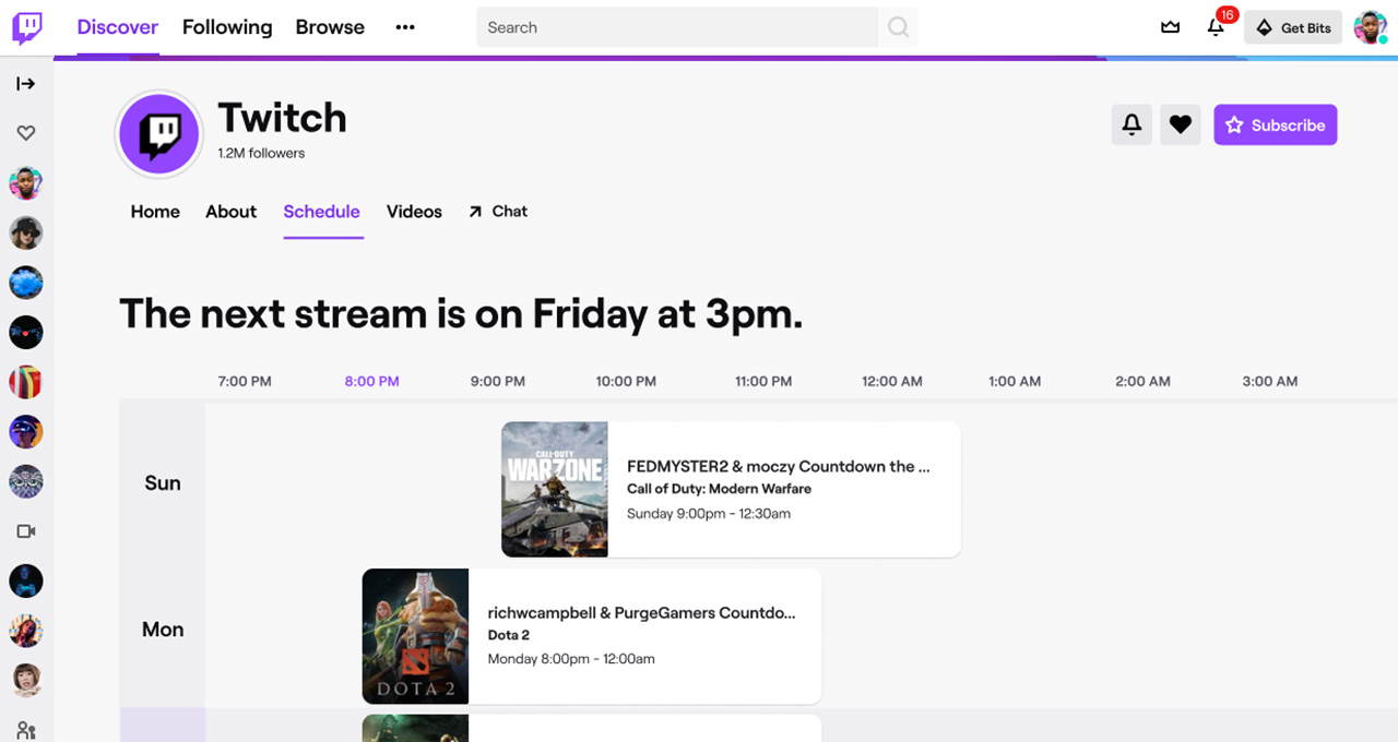 A simplified schedule integrated into Twitch
