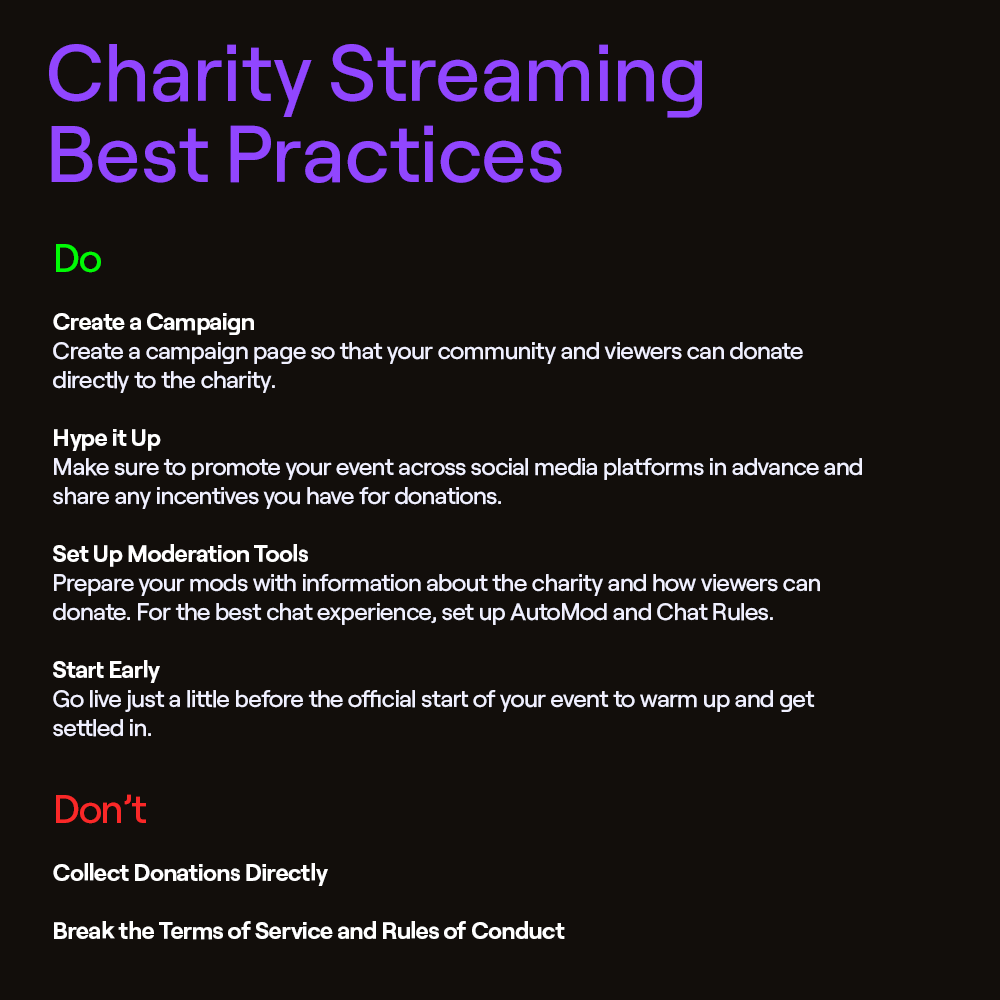 Charity Streaming Best Practices
